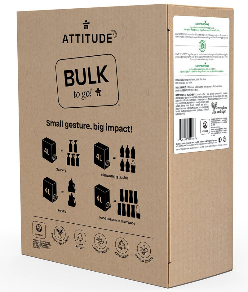 84092 ATTITUDE Bulk To Go Liquid Hand Soap - 4 L Format - Lemon Leaves _en?_side?