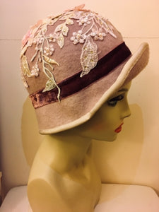 fea62ab214f8ad Nocera & Co. 1920's style cloche hat in mauve dripping with lace