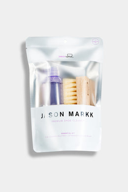 Jason Markk Signature Essential Kit. Includes a 4 oz. bottle of solution and Standard Brush.