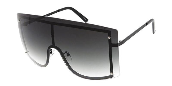 Item: 4729  Unisex Metal Oversized Rectangular Rimless Shield Frame