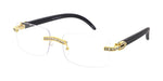Item: 5015RH/CLR  Unisex Metal Small Rimless Rectangular Rhinestone Frame w/ Woodgrain Print Temples and Clear Lens