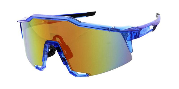 Item: 7813ME/RV  Men's Plastic Sport Large Half Frame Shield w/ Rubber Anti-Slip Inserts and Color Mirror Lens
