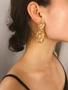 Golden Flower Shaped Double 1 Pair Drop Dangle Earrings
