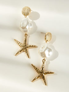 Multicolor 1pair Starfish Charm Metal Drop Dangle Earrings