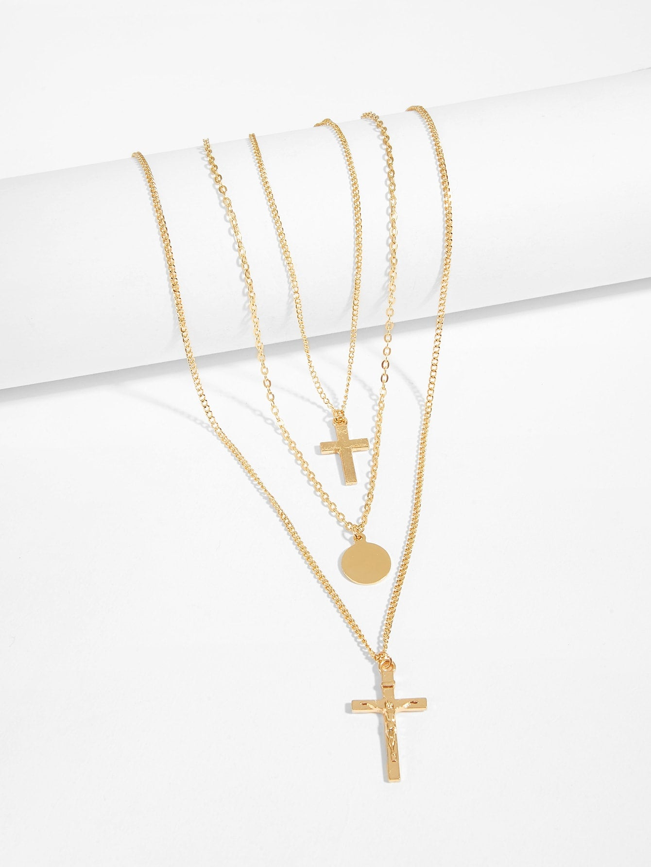 Triple Layered Golden Cross & Disc Pendant Chain Necklace 1pc