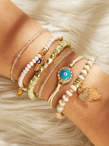 Multicolor 6pcs Hand & Heart Charm Gemstone Gold Beaded Bracelet