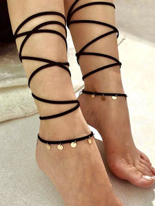 Black Disc Detail Wrap 2pc Anklet