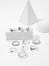 Load image into Gallery viewer, Silver Metallic Flower & Leaf Detail 10pcs Ring Set