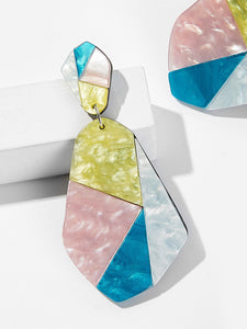 1pair Multicolor Geometric Silver Drop Dangle Earrings