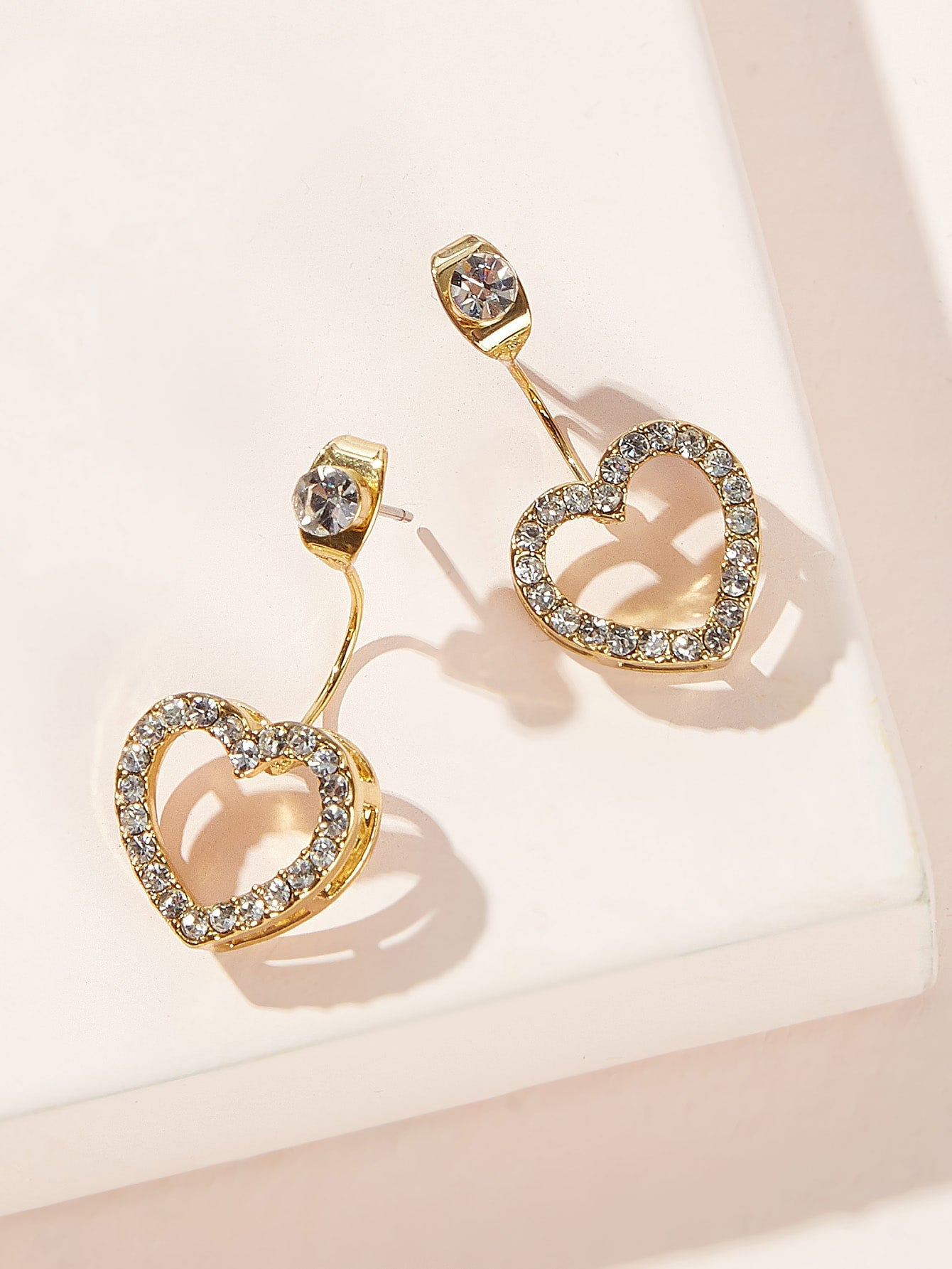 Golden 1pair Rhinestone Decor Heart Metal Stud Earrings