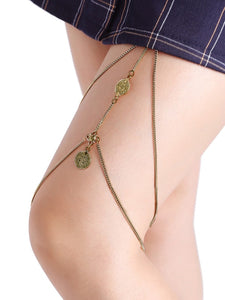 Double Layered Gold Coin Detail Thigh Chain