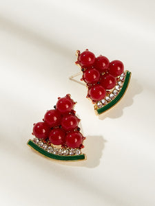Multicolored Watermelon Shaped Rhinestone Detail 1pair Stud Earrings