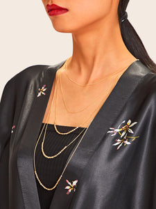 Multi Layered Golden Beaded Decor 1pc Necklace