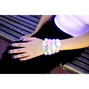 Candy Crystal Beaded With Pale Pink Opal Rock Stretch Elastic Bracelet