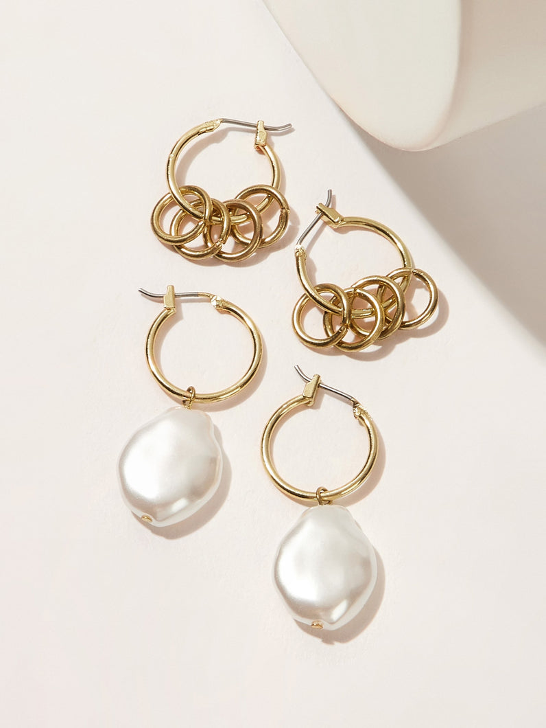 Golden Ring Decor With Faux Pearl Hoop 2 Pairs Earrings