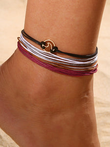 Multicolor 4pcs Multi-layered String Anklet