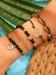 Black 5pcs Shell & Bead Decor Metal Bangle Bracelet