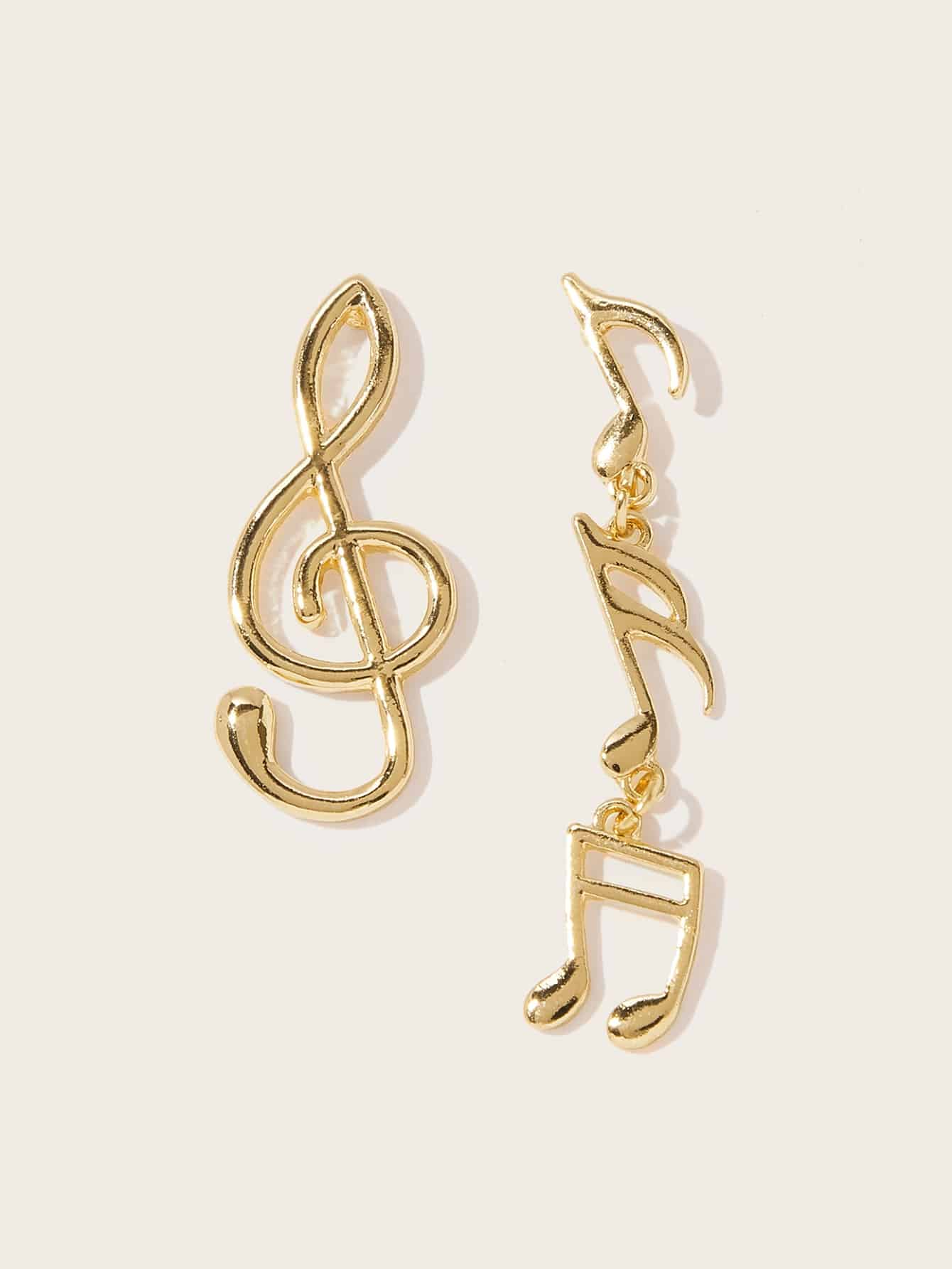 Golden Mismatched Music Note Shaped 1 Pair Dangle Earrings