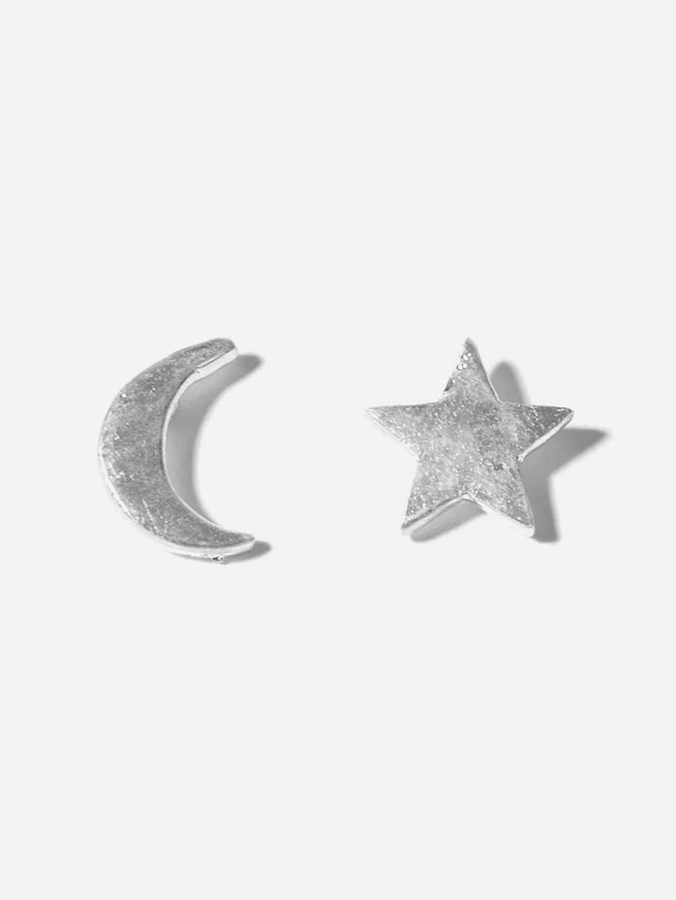 Silver Mismatched Moon & Star 1 Pair Stud Earrings