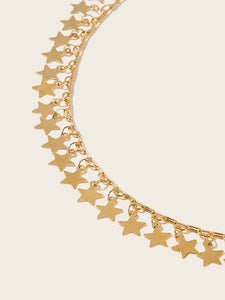 1pc Golden Star Charm Choker Necklace