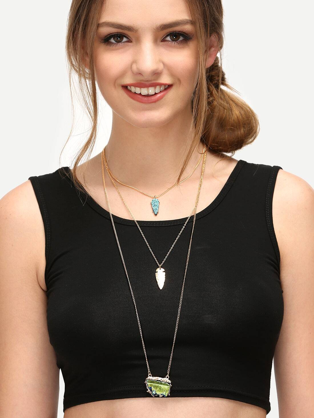 Multi-layered Golden Lariats Pendant Necklace