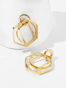 Golden Open Geometric Layered 1 Pair Dangle Earrings