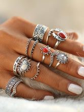 Load image into Gallery viewer, Red And White Turquoise Gemstone Round Vintage Rings Set