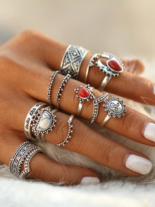 Red And White Turquoise Gemstone Round Vintage Rings Set