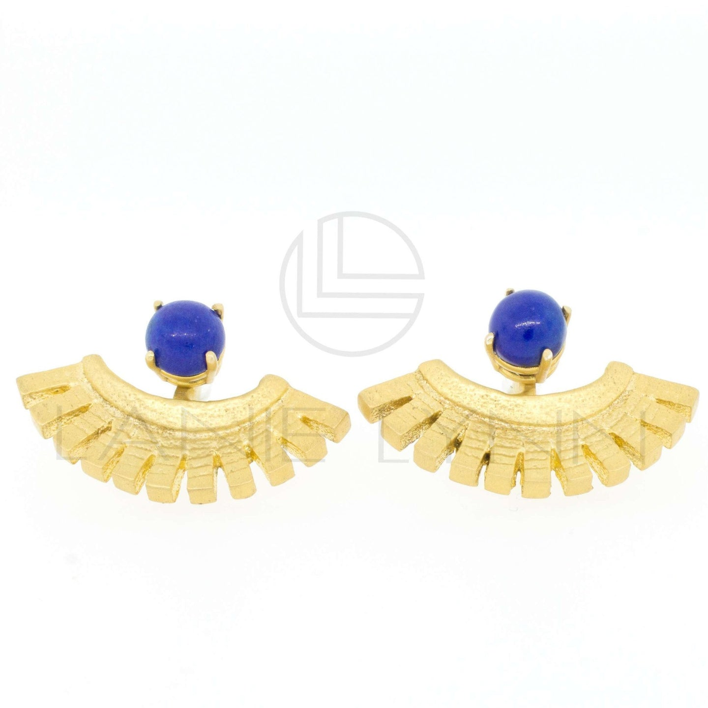 Egyptian Blue Lapis Lazuli Gold Plated Ear Jacket Earring