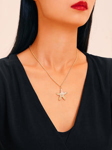 1pc Golden Starfish Textured Pendant Chain Necklace
