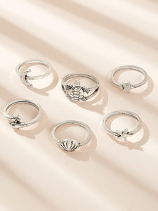 6pcs Grey Turtle & Moon Decor Ring