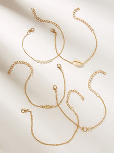 Golden 5pcs Leaf & Shell Pearls Chain Metallic Bracelet