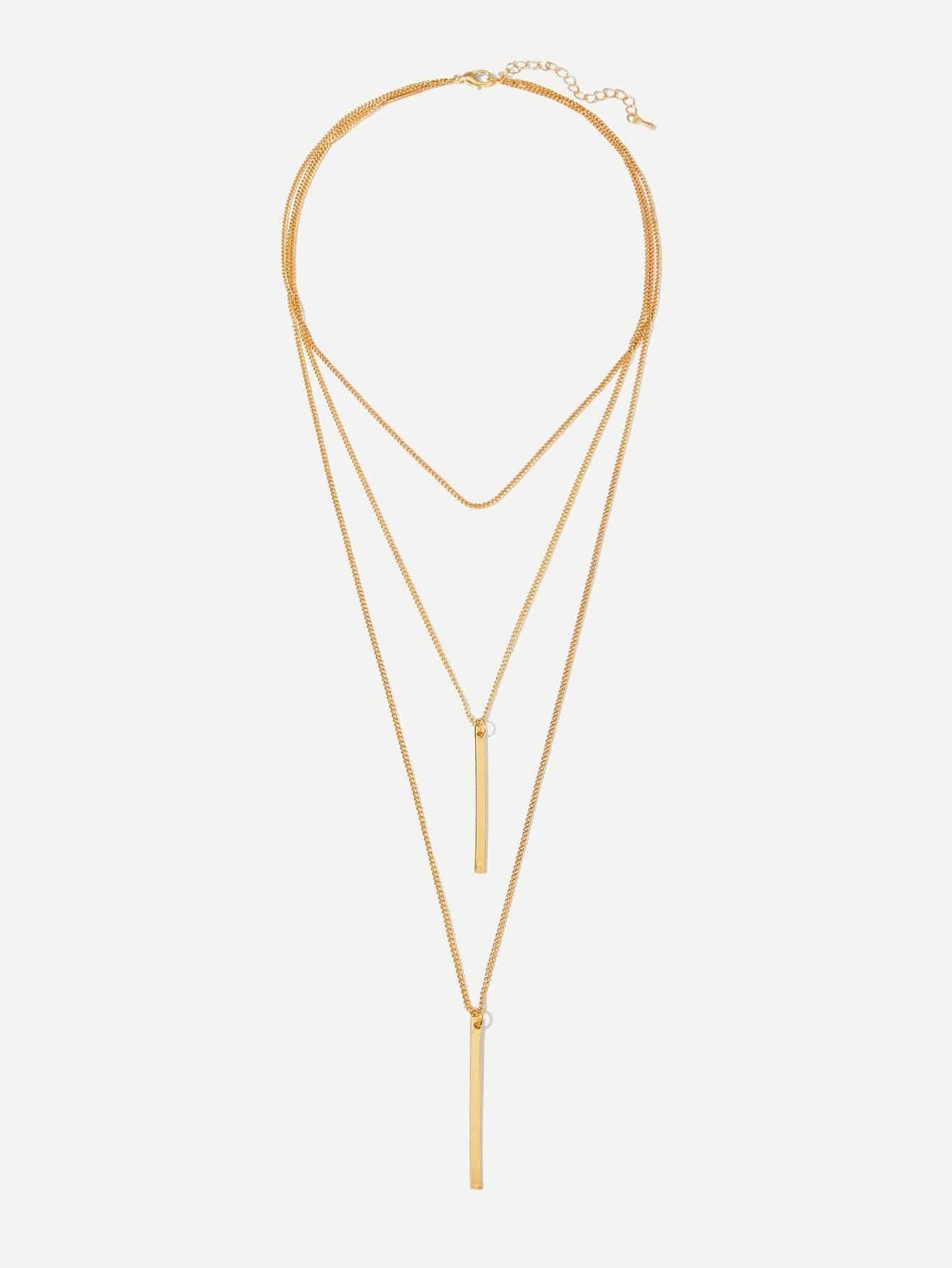 Golden 3 Layered Chain Necklace With Bar Pendant