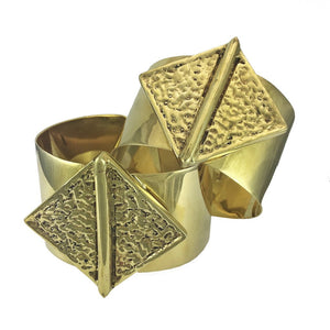 Golden Brass Bombshell Hammered Cuff