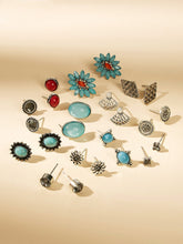 Load image into Gallery viewer, Multicolored Oval & Fan Gemstone 12 Pairs Stud Earrings