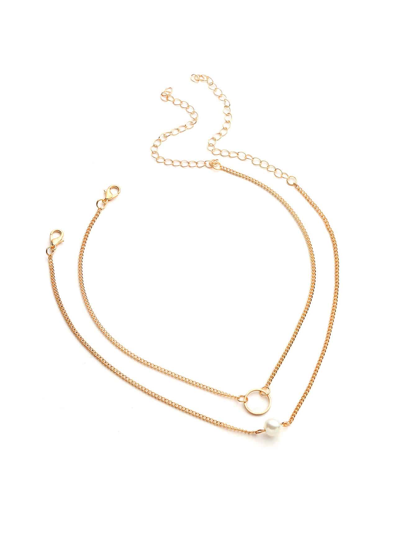 Golden Ring Design With Faux Pearl 2pcs Chain Choker Set