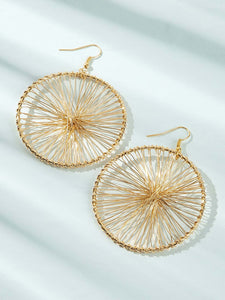 Golden 1pair Hollow Round Metal Wheel Gear Hoop Dangle Earrings