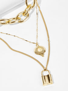 Goldn 1pc Lock Metal Pendant Layered Chain Necklace