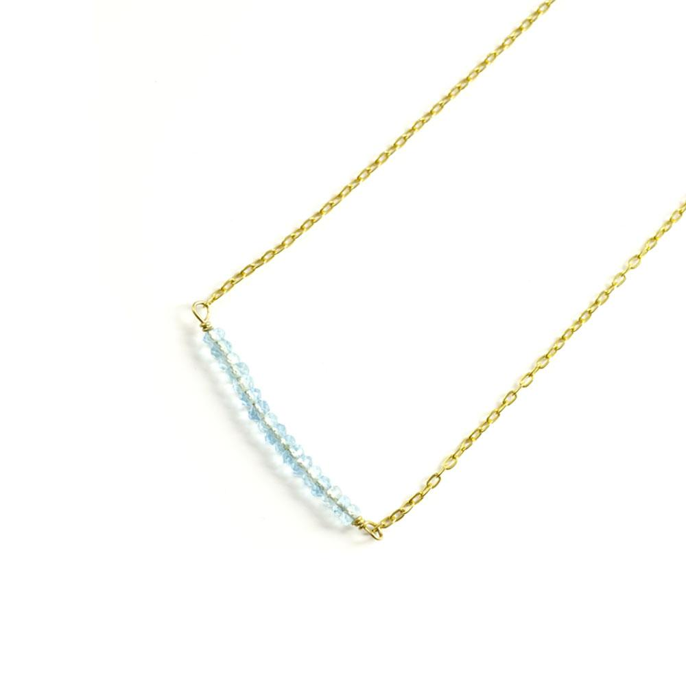 Raise The Bar With Semi-Precious Aquamarine Stones Gold Delicate Necklace