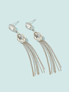 Silver Tassel With Gemstone 1 Pair Dangle Earrings