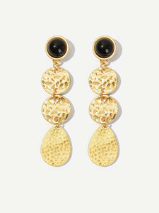 Golden 1pair Triple Textured Metal Disc Drop Dangle Earrings