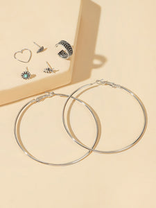 Silver Leaf & Elephant 7pcs Stud Or Hoop Earrings