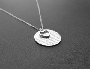 Heart With Words Of Love Sterling Silver Pendent Chain Necklace