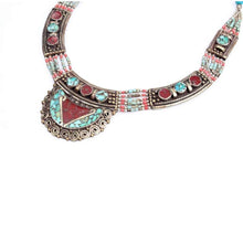 Load image into Gallery viewer, Multicolored Gemstones With Turquoise Tribal Hmong Necklace