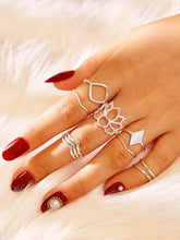 Load image into Gallery viewer, Grey 8pcs Lotus & Geometric Decor Silver Metal Ring