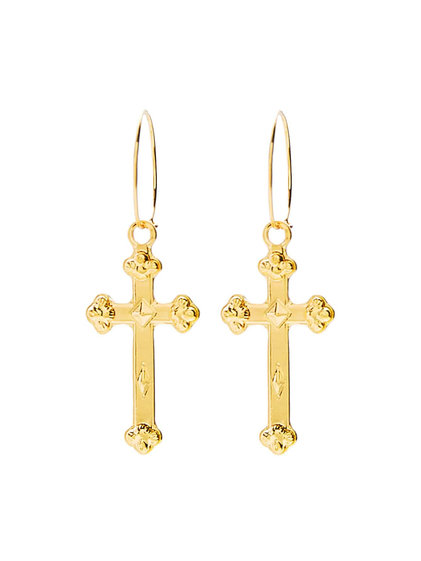 Golden Metal Cross Dangle Earrings