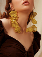 Load image into Gallery viewer, Yellow Fabric Petal Drop Dangle 1 Pair Earrings