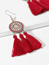 Load image into Gallery viewer, Multicolored Tassel Sector Drop 1 Pair Dangle Silver Earrings