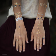 Load image into Gallery viewer, Gold And Silver Native Metallic Aztec Temporary Tattoo Bracelets Set