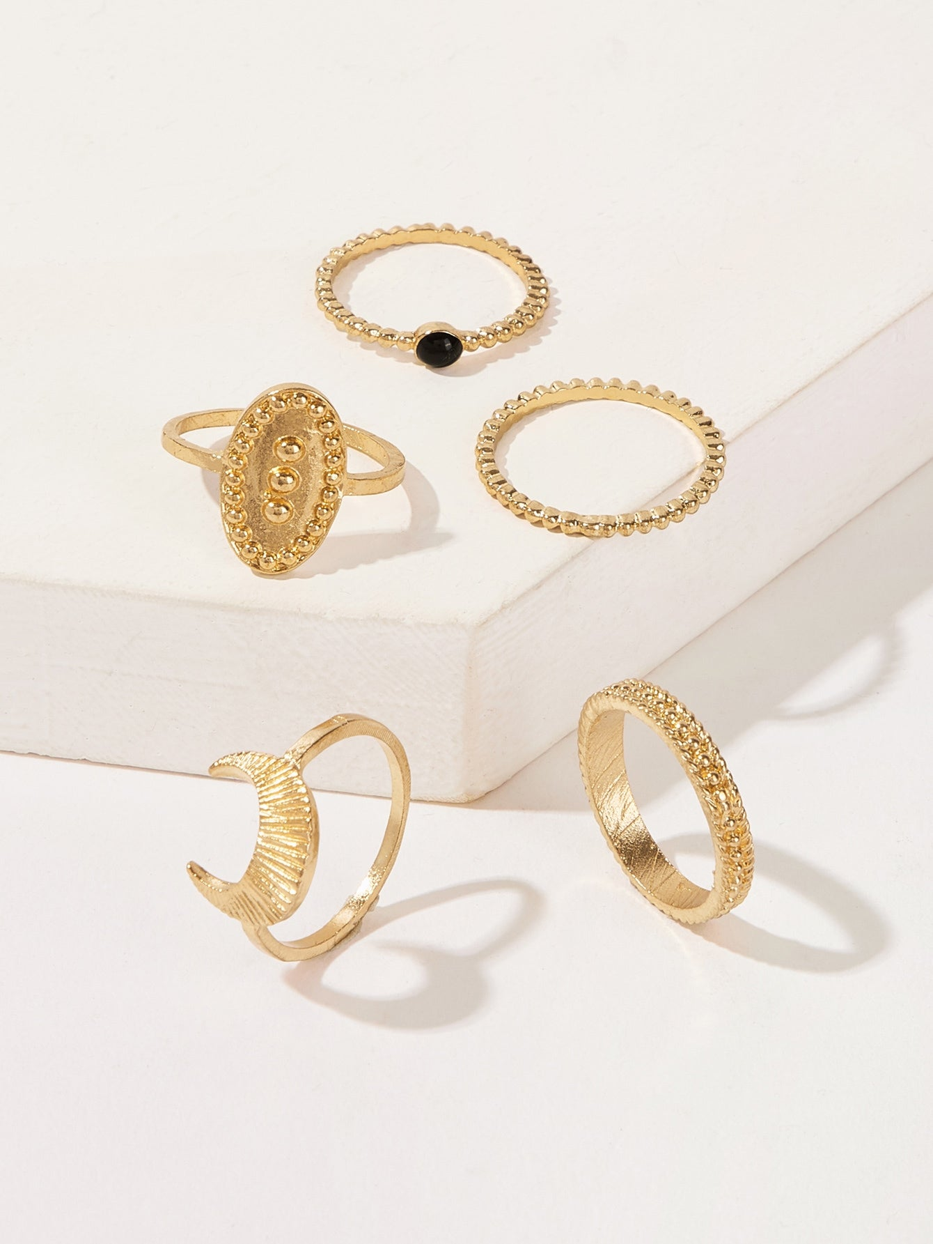 5 Pack Golden Textured Ring